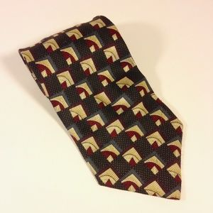 "Louis Roth Accessories - LOUIS ROTH 100% Silk Black, Reds, Blues Tie 4""x57"""